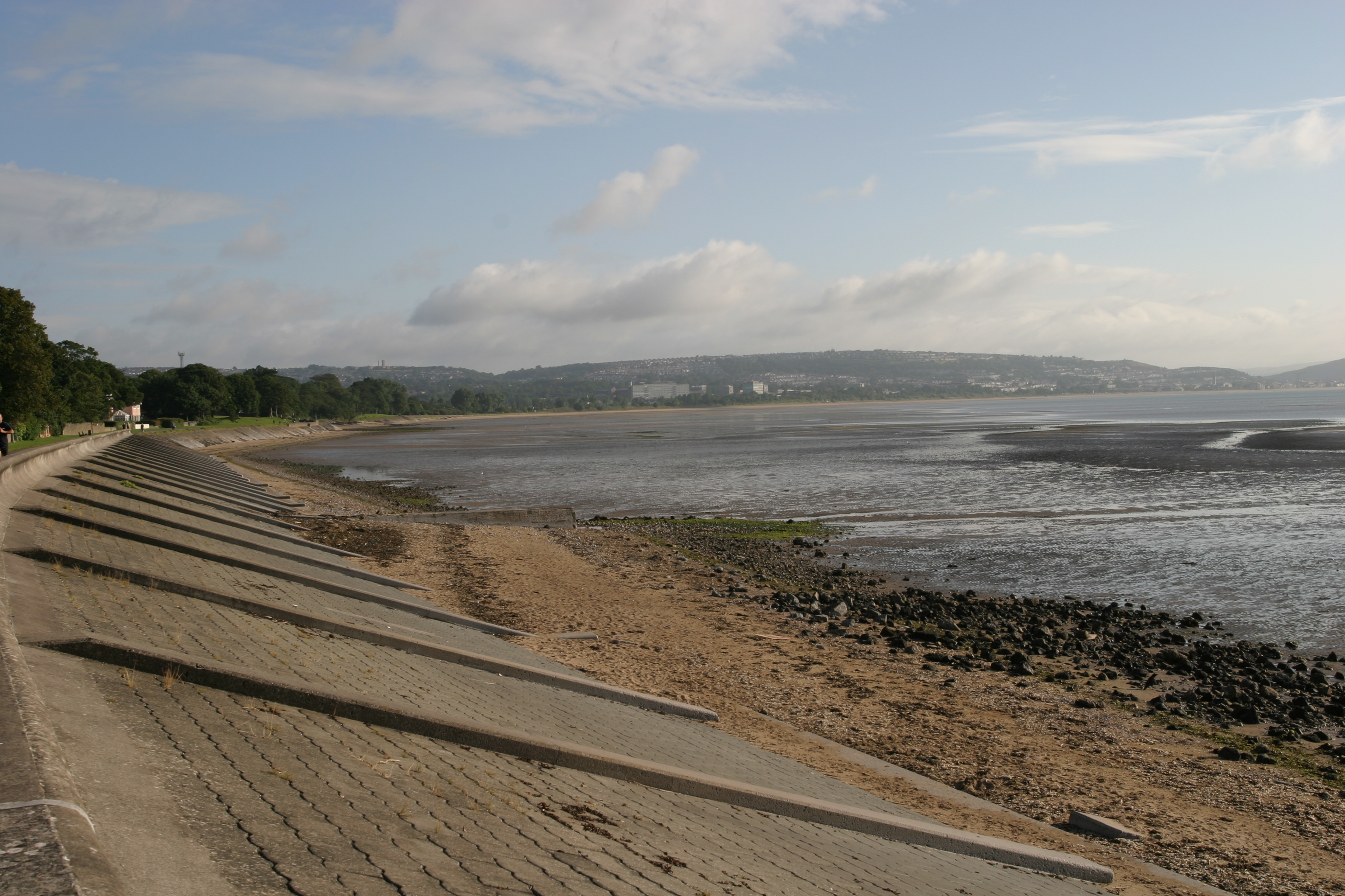 The beach, looking towards Swansea city center