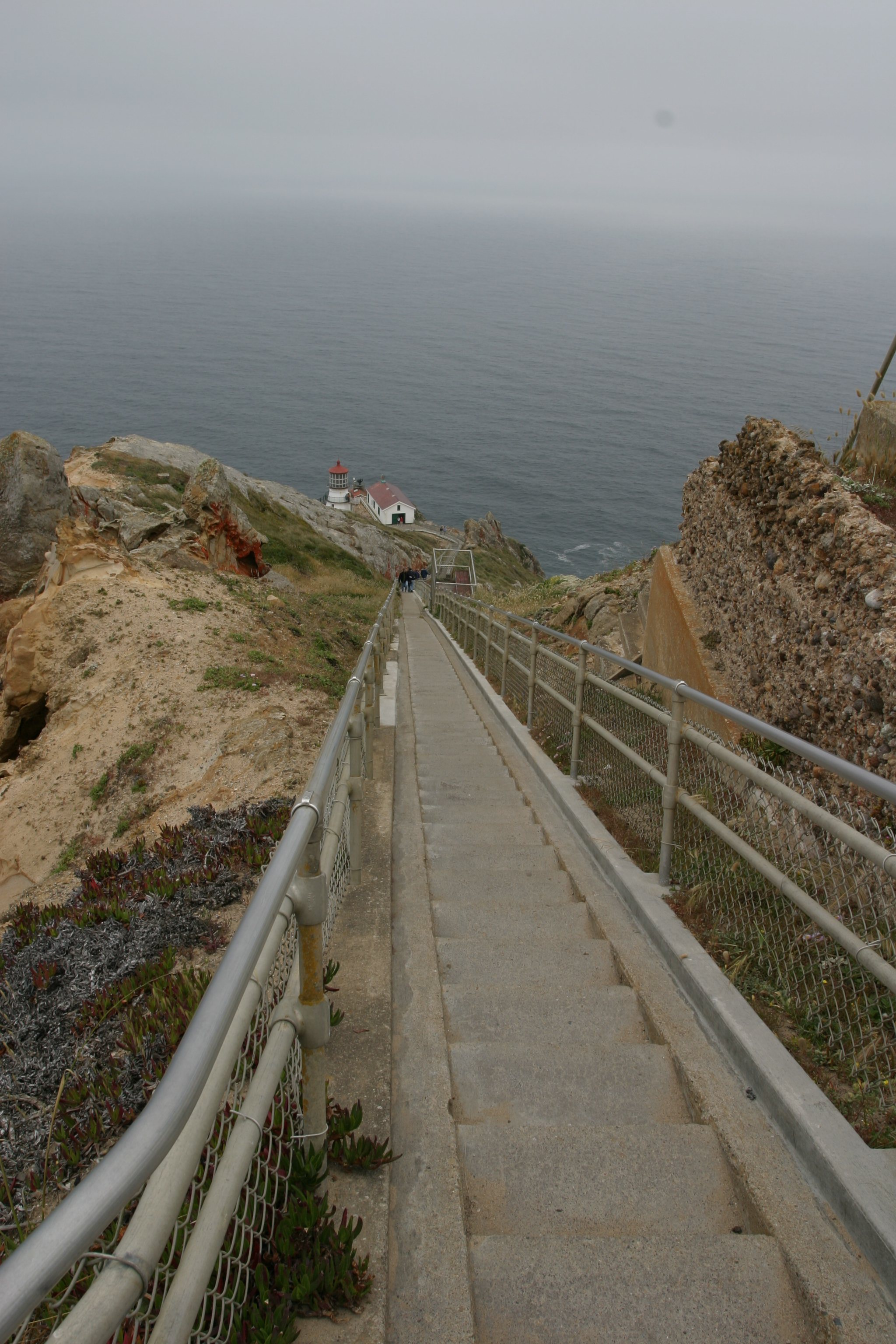 view down stairs to lighthouse