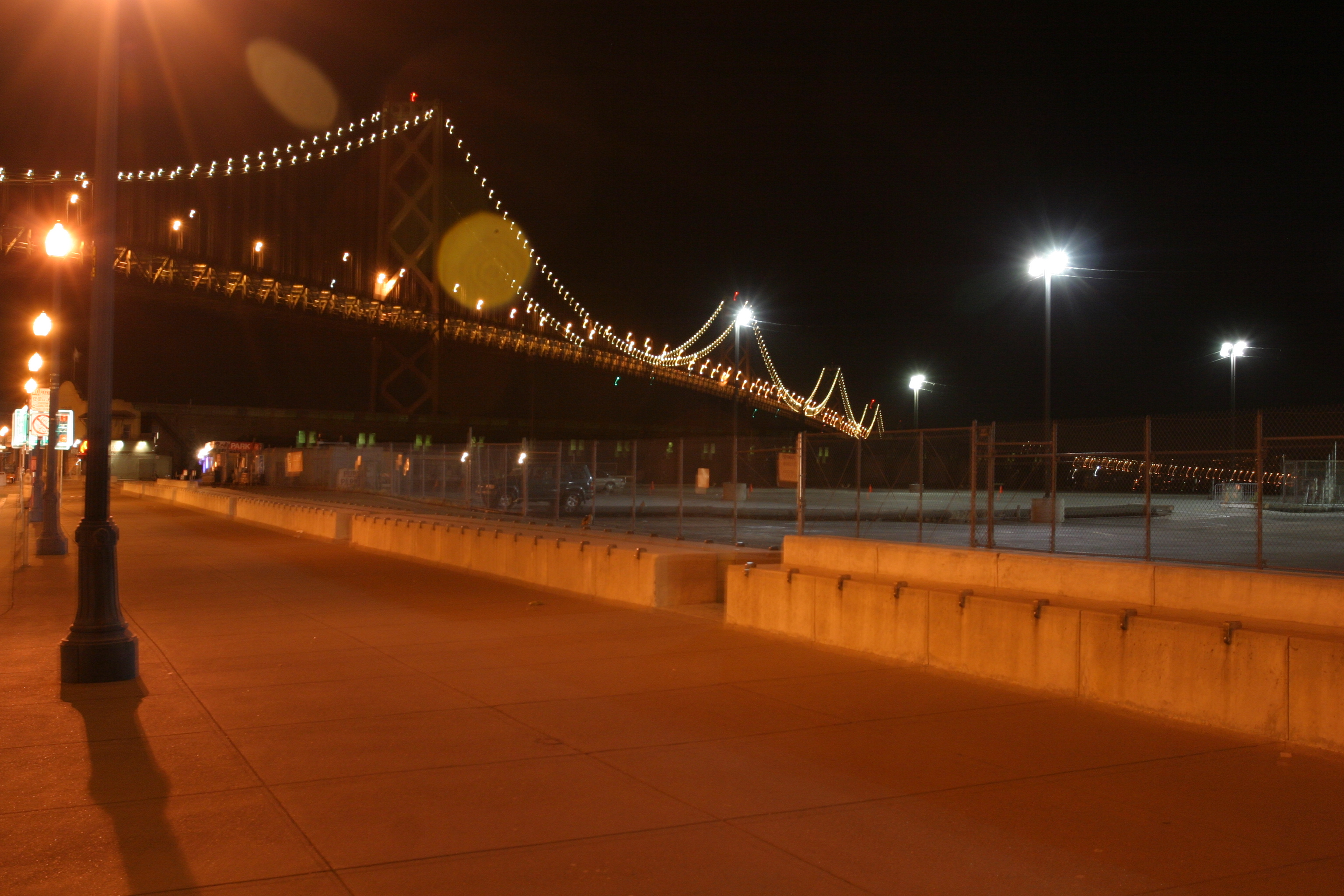 Bay Bridge and Embarcadero sidewalk