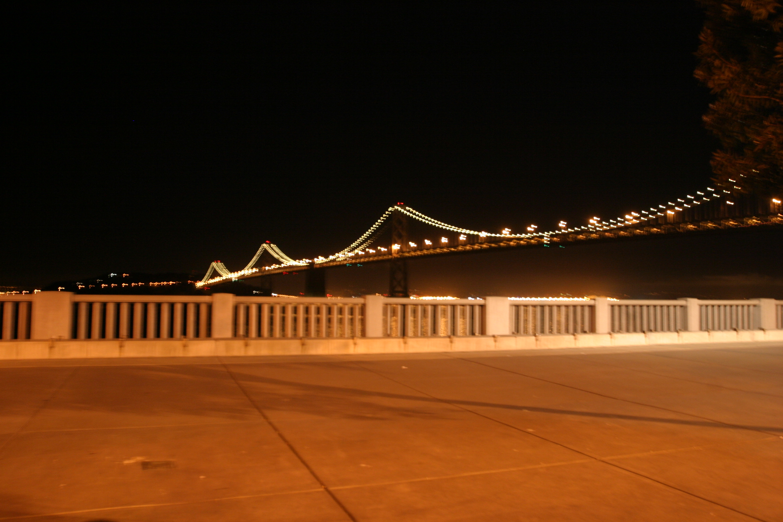 Bay Bridge and sidewalk