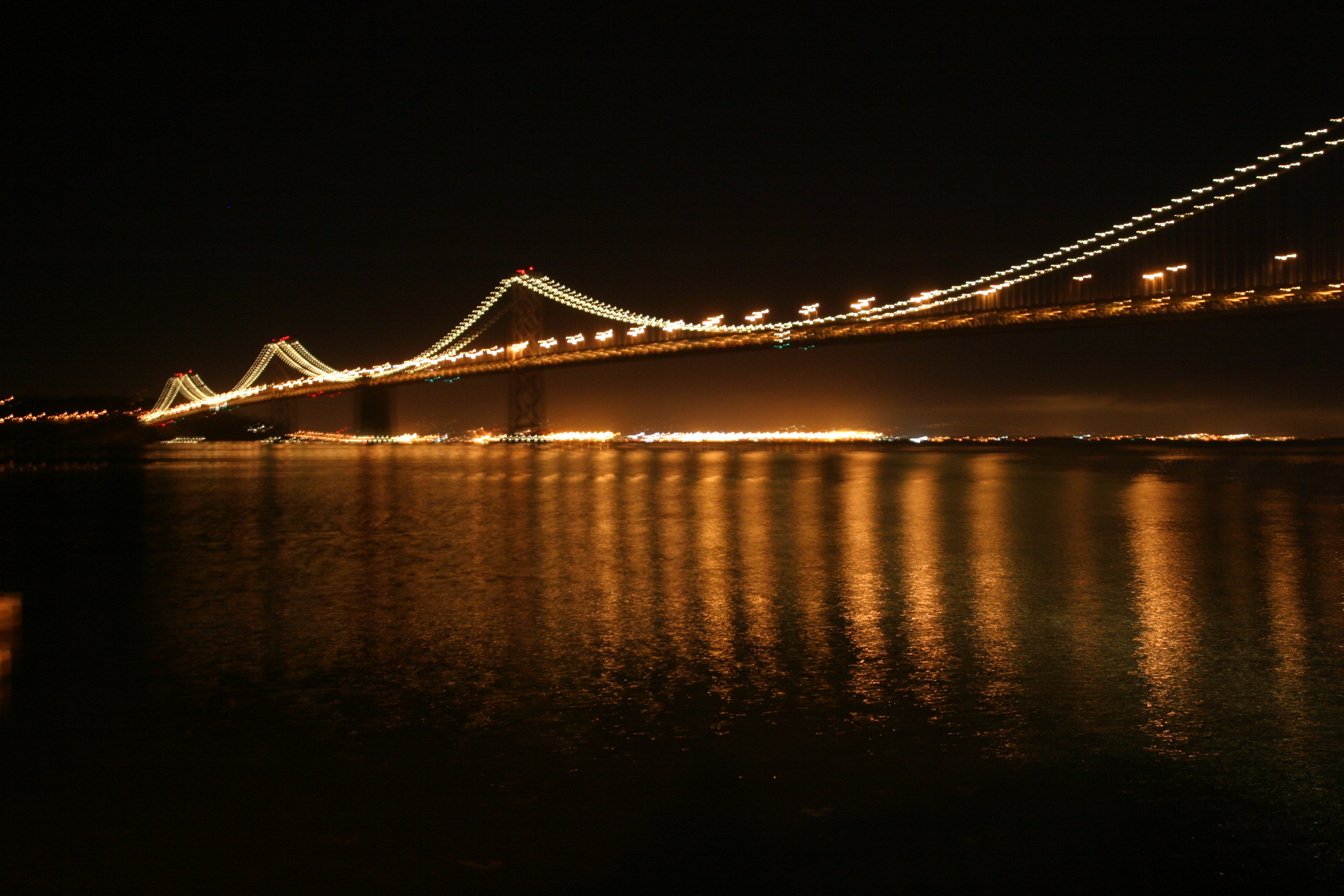 Bay Bridge and water reflections